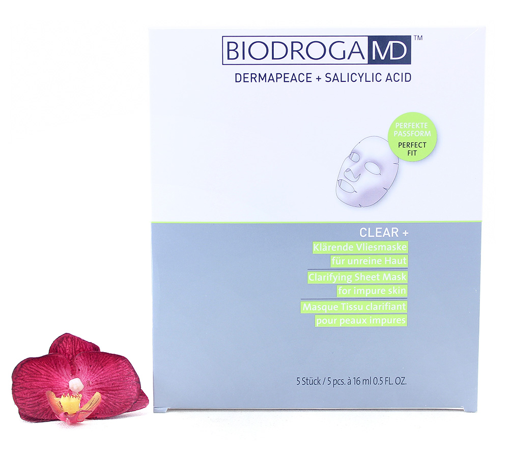45446 Biodroga MD Clear+ Clarifying Sheet Mask For Impure Skin 5x16ml