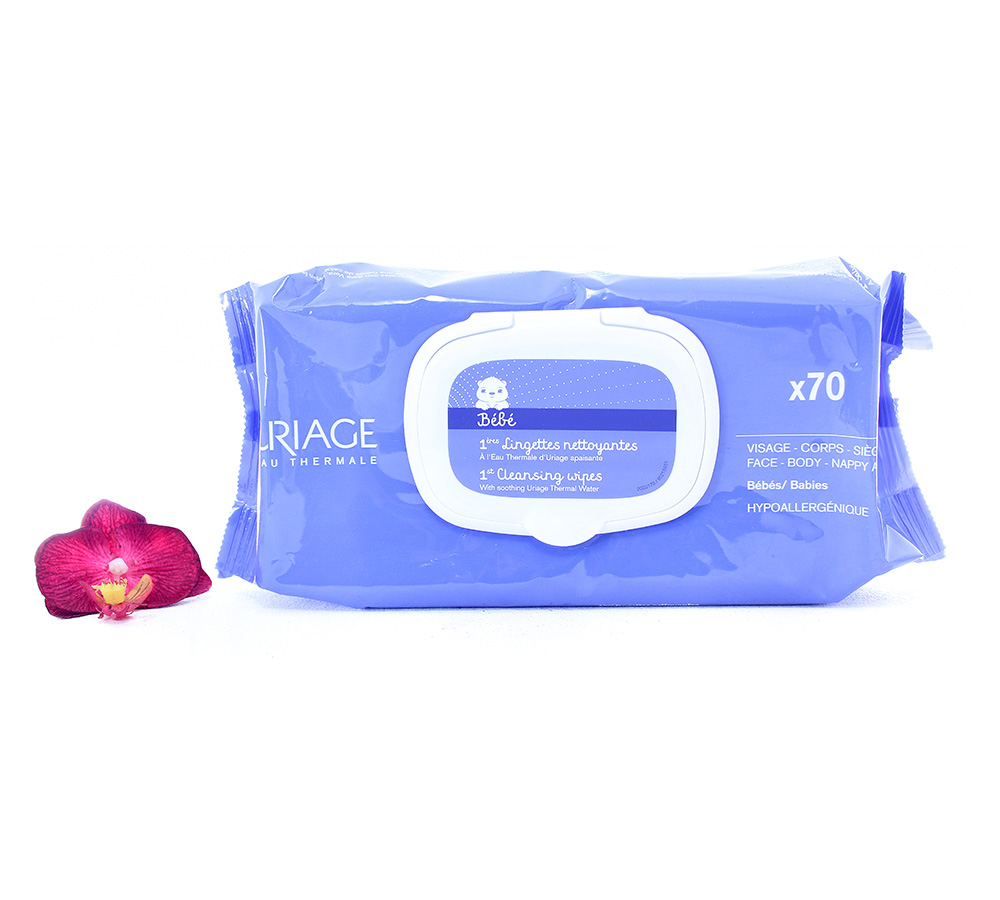 3661434005749 Uriage Bébé - 1st Cleansing Wipes 70 Wipes